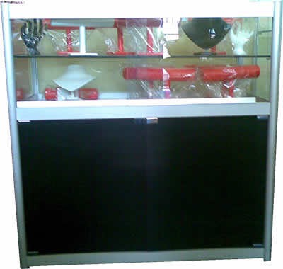 No 3  - Glass Counter Cabinet 2 Shelves 1m x 1m